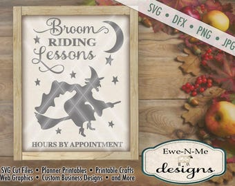 Halloween Cut File -  Witch SVG Cutting File - Broom Riding Lessons - Digital svg, dfx, png and jpg files available