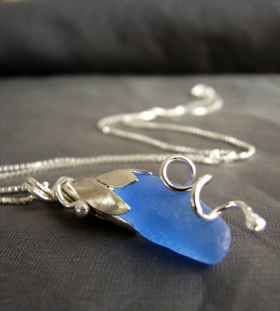 Sea Lily beach glass necklace in cornflower blue
