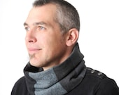 Grey blue cowl scarf, Mens accessories, Grey and blue patchwork Mens Cowl, Mens gift, Cowl Scarf - Grey men scarf, MALAM