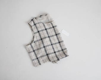 plaid linen crop top | boxy crop top | plaid crop top