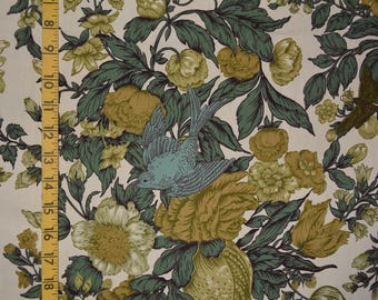 Vintage 1940s fabric drapery cutter upholstery fabric blue green foliage and bird upholstery cutter fabric
