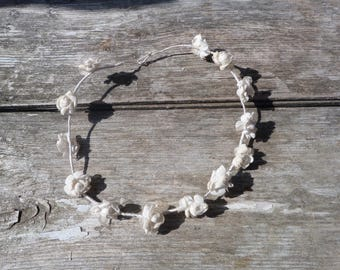 Vintage Antique 1900 /1930 wedding /communion  Floral tiara cream cotton roses blossom
