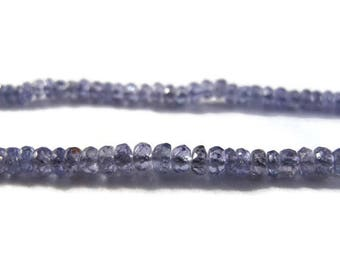 Natural Tanzanite Beads, Tiny Blue Faceted Rondelles, 2mm - 3mm, 20 Count, Twenty Gemstones, December Birthstone (Luxe-Ta5)