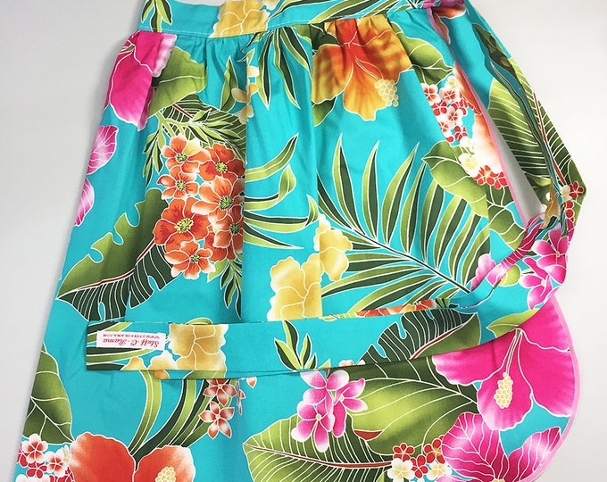 Half Apron - Vintage Pin Up Skirt Style - Blue Hawaiian