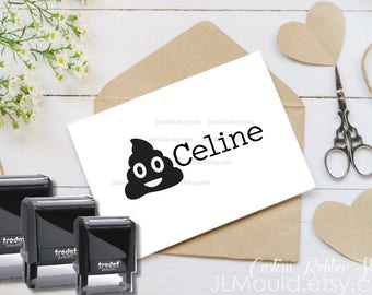 Children Stamp Self Inking Stamp Wooden Handle Stamp JLMould Custom Classroom Return Books Personalized Your Name Emoji Poo Stocking Stuffer