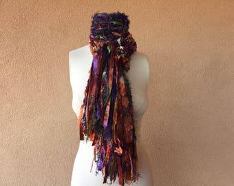 SCARVES Fashion Knit Accessories Scarf Orange, Purple, Green, Navy Blue, Brown Art Yarn Scarf Jewel Tone Scarf Ribbon Scarf