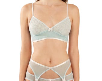 Natalie blue and white garter belt - retro light pale pastel blue garterbelt in spandex mesh with nickel silver metal clips, suspender belt