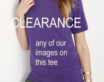 CLEARANCE UNISEX Crew neck tri blend shirt screenprinted Mens Ladies