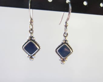Bali Style Sterling Silver and Inlaid Blue Lapis Stone Dangle Earrings - 1595C