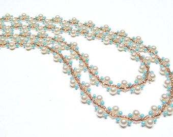 cream pearl necklace,beaded pearl and turquoise copper necklace,cream pearl beaded necklace,handmade pearl necklace,wedding, bridesmaid gift
