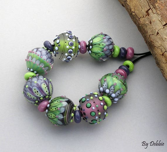 "DSG Beads ~Artisan Debbie Sanders Handmade Lampwork Glass Beads~ ""Garden Fairy"""