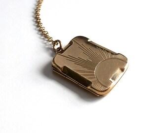 Antique Vintage Art Deco 9K Gold Front Back Locket Pendant Necklace - Art Deco Sun