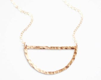 Hammered Half Moon Necklace | Half Circle Necklace | Gold Filled Necklace | Sterling Silver Necklace | Geometric Necklace | Brass Necklace