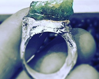 Emeralds are my weakness hand sculpted fairy wood silver ring with Brazilian rough emerald size 7