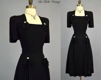 40s Black Rayon Crepe Dress S M ~ Rhinestone Button Bows