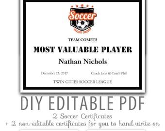 soccer award certificates