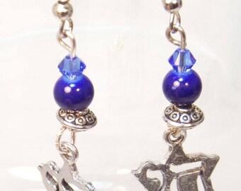 Chai Earrings Star of David Earrings Charm Earrings Jewish Earrings