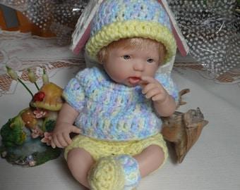 Crocheted outfit for 9.5 inch Doll Mini La Newborn Infant set Boy Girl Pastel Blue Purple Yellow