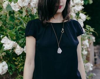 Crystal quartz necklace, crescent moon new moon, rough quartz gemstone, mystic moon phases, moonstone