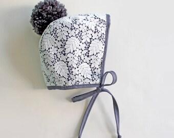 Charcoal Gray Bonnet, Lace Bonnet, Off White Bonnet, Pom Pom Bonnet, Baby Bonnet, Toddler Bonnet, Gray Bonnet, Baptism Bonnet, Baby Gift