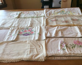 Pillowcase Sets  Vintage Linen Lot Value Bundle Eight Sets which Includes Embroidery, Crochet  - B112