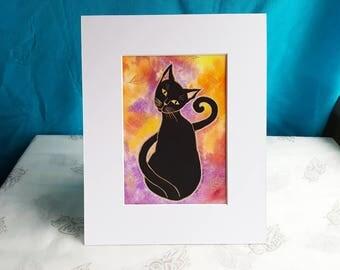Black Cat Watercolor Painting Original
