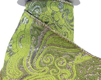 """3 Rolls Of Scrolling Floral Acanthus Tapestry Lime & Dark Silver Wired Ribbon  4"""" Wide"""