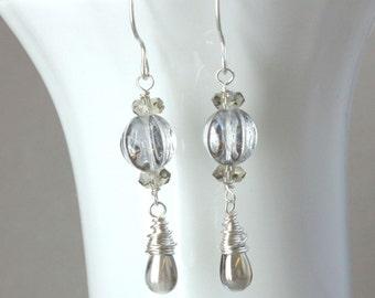 Czech  Glass Earrings Sterling Silver Handmade Jewelry Accessories  Long Dangle  Earrings Wire Wrapped Gifts For Women