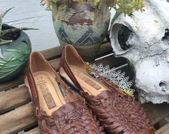 Vintage Woven brown Leather Sandals size 9.5 Huarache flats shoes