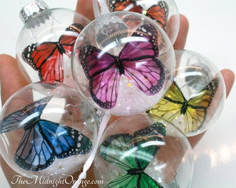 Single or set of Monarch Butterfly Ornaments - colorful butterflies in glass bauble - you choose colors - beautiful memorial