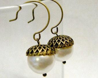 Holiday earrings, acorn earrings, white Swarovski pearls, holiday gift, nature inspired, gift under 30