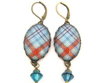 Irish Tartan Jewelry - Ancient Romance Series - O'Brien Clan Tartan Earrings with Aquamaraine Swarovski Crystals