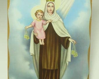 Magnificent Mother Mary And Baby Jesus Laminated On Wood Wall Plaque
