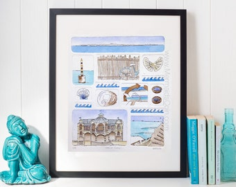 Beach watercolour original Surf Art -drypoint collagraph and watercolour art print Cottesloe Australia