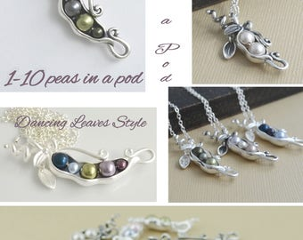 Gift for mom, 123456789, 10 peas in a pod necklace, sterling silver, pearl birthstone, personalized initial necklace, for grandma