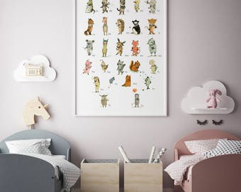 Alphabet poster, nursery decor, Nursery decor animals, Woodland nursery, ABC wall art, Kids room decor, Alphabet wall art, Alphabet print