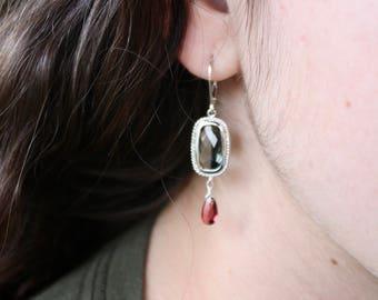 Grey Topaz Garnet Earrings,silver Garnet Earrings,gift for her,gift under 100,dainty earrings,January birthstone,delicate earrings,red drops