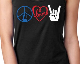 Peace Love Rock Women's Tank or Shirt