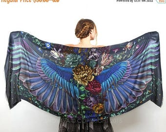 SALE Dark Wings Scarf, Hand Painter Wrap, Silk Shawl, Oversized Scarf, Maxi Shawl, Designer Shawl, Art Gift, Boho Shawl, Wings Shawl