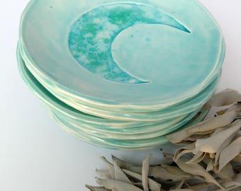 Crescent moon Ring dish, glass galaxy, catch all, soap dish, small plate,bohemian decor, ocean theme, trinket dish gift.