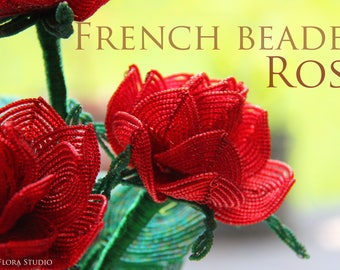 French beaded Rose beaded flower tutorial and pattern - pdf