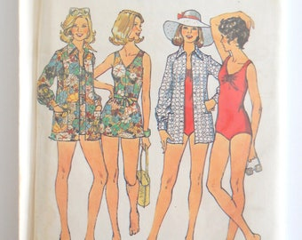 Vintage Bathing Suit Sewing Pattern • Vintage Simplicity Bathing-Suits and Cover-Up Pattern • 1974