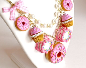 Pink Dessert Necklace, Pink Cupcake Charm Statement Necklace, Donut Pendant, Birthday Cake, Pastel Goth, Kawaii Food Jewelry, Pinup Jewelry