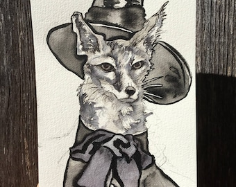 Inktober Original by Jen Tracy - Ink Drawing of Swift Fox Witch - Inktober Art for Halloween - October Ink Wall Art