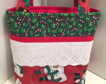 Patchwork Christmas, Gift Tote Bag, Gift Wrap, Wrapping Paper Alternative, Fabric and Lace, Snowmen, Quilted Bag, Toy Tote, Toddler Gift Bag