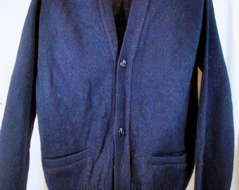Vintage Robert Bruce Cardigan - Navy Blue Sweater - Grandpa Sweater - Men's Size Medium - Unisex - NWT - New With Tags