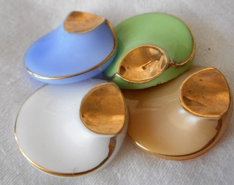 Set of 4 VINTAGE Art Deco Gold Trim Glass Sewing BUTTONS