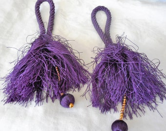 Set of 2 VINTAGE Purple Rayon with Dangle Tassels