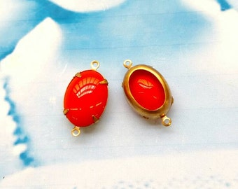 Tangerine  CZECH Glass Stones 18x13mm Oval  in a Raw Brass Open Back Prong Setting or Connector Option 583RAW x2