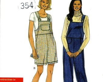 Simplicity 8455 Misses' Easy Overalls Short Long Size 10 to 20 Uncut Sewing Pattern 1998